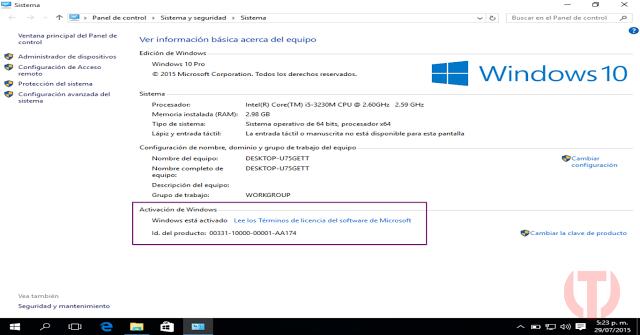 captura activación Windows 10 Pro